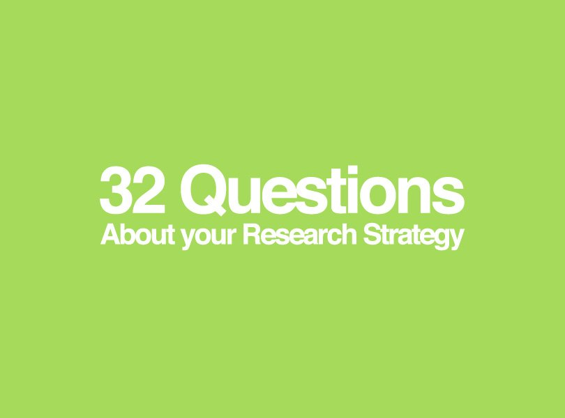 About your research strategy